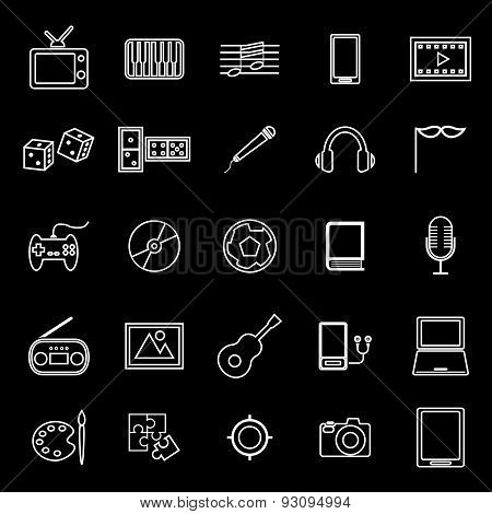Entertainment Line Icons On Black Background