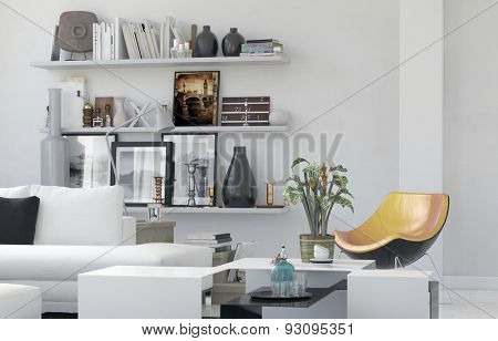 Cozy living room interior with personal effects arranged on simple white wall mounted shelves and a comfortable white lounge suite with a contemporary modular chair. 3d Rendering