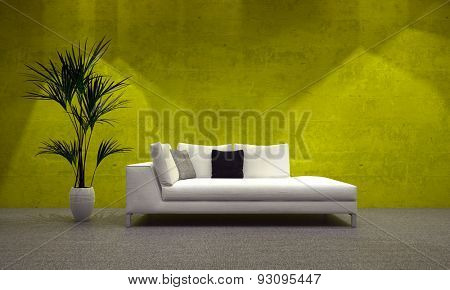 Comfortable upholstered day bed in front of a luminous green-yellow wall with a potted plant illuminated by down lights for a comfortable place to relax in a modern home. 3d Rendering