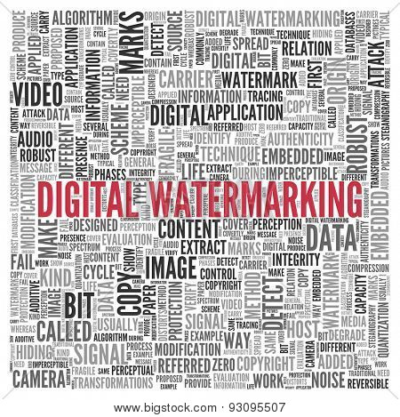 Close up DIGITAL WATERMARKING Text at the Center of Word Tag Cloud on White Background.