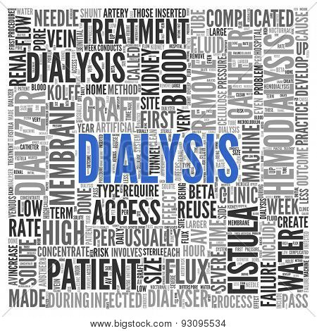 Close up DIALYSIS Text at the Center of Word Tag Cloud on White Background.