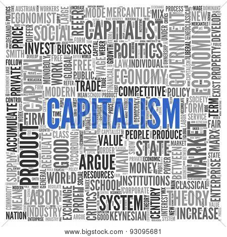 Close up CAPITALISM Text at the Center of Word Tag Cloud on White Background.