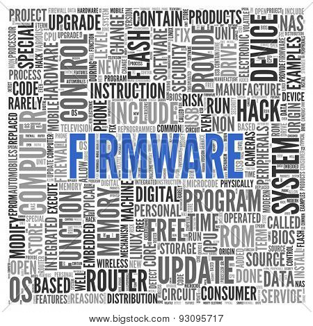 Close up FIRMWARE Text at the Center of Word Tag Cloud on White Background.