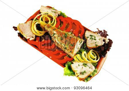 health dinner - atlantic light roast fish sea tuna served on plate with vegetables and lemon isolated on white background