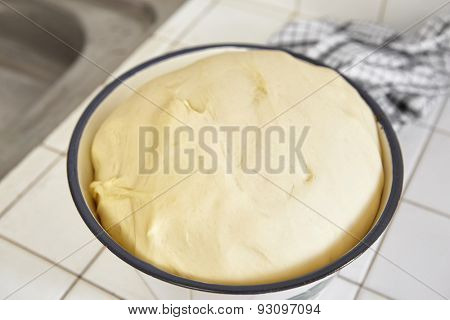 Rising bread dough from fermentation or unleavened