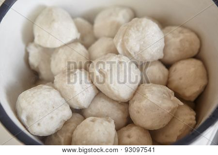 Fish ball piled inside the big bowl