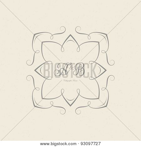 Vintage frame for weddings, invitations, greeting cards, menus, business identity. Elegant vector calligraphic design.