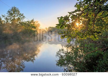 Nice sunrise landscape over river with morning fog