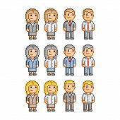 foto of pixel  - Pixel art collection of different characters for business - JPG