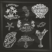 pic of bon voyage  - Set of elements for summer calligraphic design on dark background - JPG
