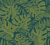 image of jungle  - Beautiful seamless tropical jungle floral pattern background with palm leaves - JPG