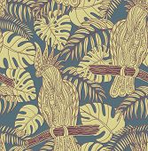 foto of cockatoos  - Seamless pattern with graphic cockatoo parrot on a branch with tropical leaves - JPG