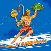 picture of hanuman  - illustration of Lord Hanuman on abstract background - JPG