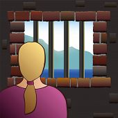 picture of jail  - An confined woman is looking out of the barred window of a jail - JPG