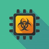 pic of cpu  - Illustration of a CPU icon with a biohazard sign - JPG