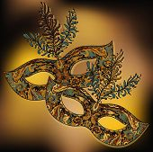 image of venetian carnival  - Vector illustration of two ornate floral Venetian carnival masks with feathers - JPG