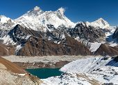 foto of passed out  - View of Everest Lhotse Makalu and Gokyo Lake from Renjo La pass  - JPG