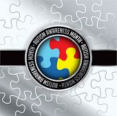 stock photo of aspergers  - An autism awareness month emblem made from jigsaw puzzle pieces and autism colors - JPG