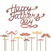 stock photo of mustache  - Watercolor card with mustache and text Happy Father - JPG