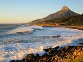 picture of lions-head  - Coast line at the atlantic side of Table mountain in South Africa - JPG