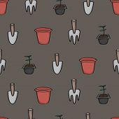 pic of trowel  - Seamless background tile with a cartoon pattern of gardening tools. Pattern shows a trowel a fork a terracotta pot and a seedling ready to be planted.