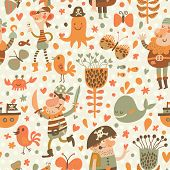 image of pirate  - Lovely pirates in cartoon seamless pattern - JPG