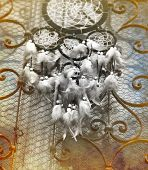 image of dream-catcher  - Dream Catcher and ornamental window on background. vintage picture.
