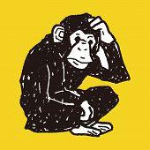 picture of orangutan  - Orangutan Monkey Doodle - JPG