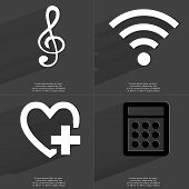 stock photo of clefs  - Clef WLAN icon Heart with plus sign Calculator - JPG
