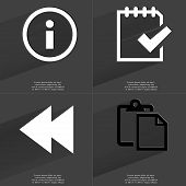 picture of tasks  - Information sign Task completed icon Two arrows media icon Tasklist - JPG