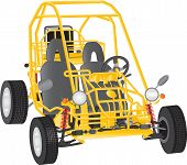 image of buggy  - A Yellow Beach Buggy isolated on white - JPG