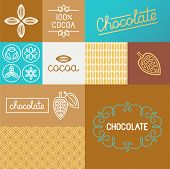 stock photo of cocoa beans  - Vector set of design elements for chocolate and cocoa packaging and wrapping paper  - JPG