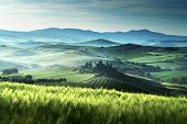 stock photo of early spring  - Early spring morning in Tuscany - JPG