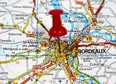 stock photo of bordeaux  - map with pin point of bordeaux in france - JPG