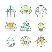 stock photo of nature conservation  - Vector ecology icons  - JPG
