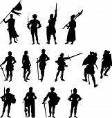 image of arthurian  - Fourteen Knight and Medieval Figure Silhouettes on white background - JPG