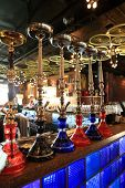 image of shisha  - The hookah on the bar counter in a cafe - JPG