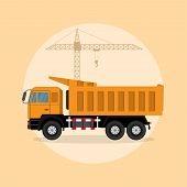 image of lift truck  - picture of a dump truck with lifting crane on background flat style illustration - JPG