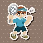 foto of badminton player  - Badminton Player Theme Elements - JPG