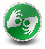 foto of nonverbal  - Icon Button Pictogram with Sign Language symbol - JPG