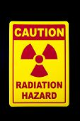 picture of hazardous  - A radiation hazard sign against a black background - JPG