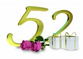 image of fifties  - birthday concept with pink roses and gifts  - JPG
