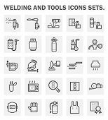 stock photo of welding  - Welding and tools icons sets on white background - JPG