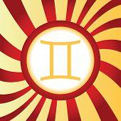 stock photo of gemini  - Yellow icon with zodiac Gemini symbol - JPG