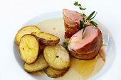 picture of roasted pork  - Roasted pork tenderloin with bacon - JPG
