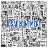 image of disappointment  - Close up DISAPPOINTMENT Text at the Center of Word Tag Cloud on White Background - JPG
