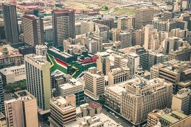 picture of flags world  - Close up detail of skyscrapers the business district of Johannesburg  - JPG