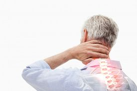 pic of spine  - Digital composite of Highlighted spine pain of man - JPG