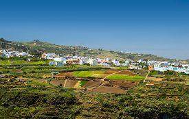 stock photo of ravines  - Gran Canaria inland nortern parts view towards Moya over ravine Barranco de Azuaje - JPG