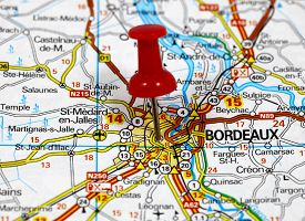 image of bordeaux  - map with pin point of bordeaux in france - JPG
